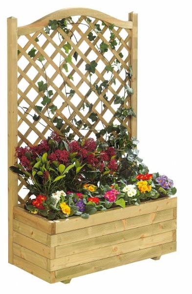 Bloembak met toogtrellis bestaat uit uit een bloembak en een toogtrellis.