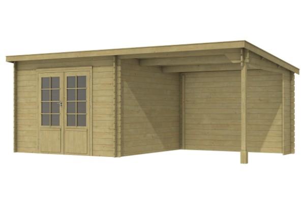 Blokhut Ohio met dubbele deur en luifel 300 cm