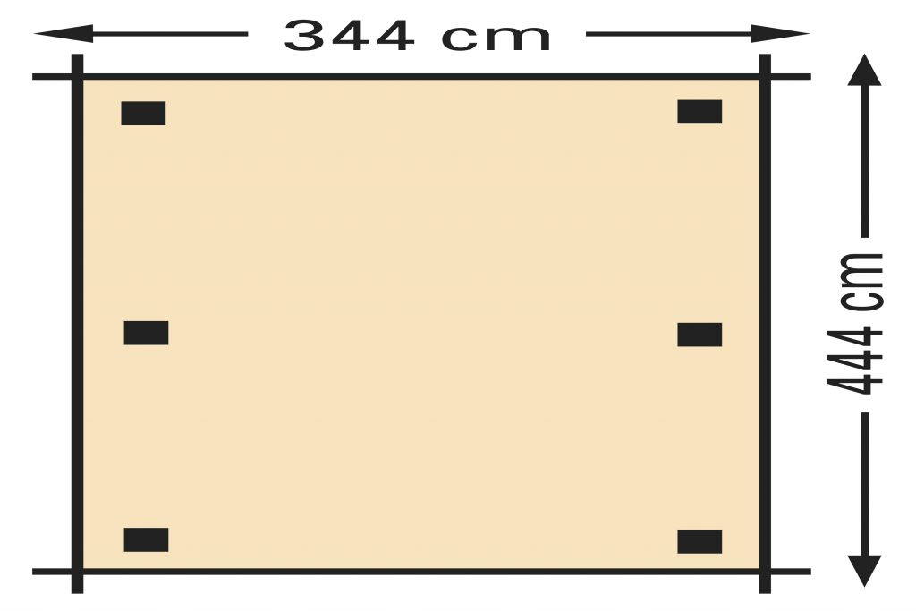 Schaduwpergola vuren houtpakket 344 x 444 cm