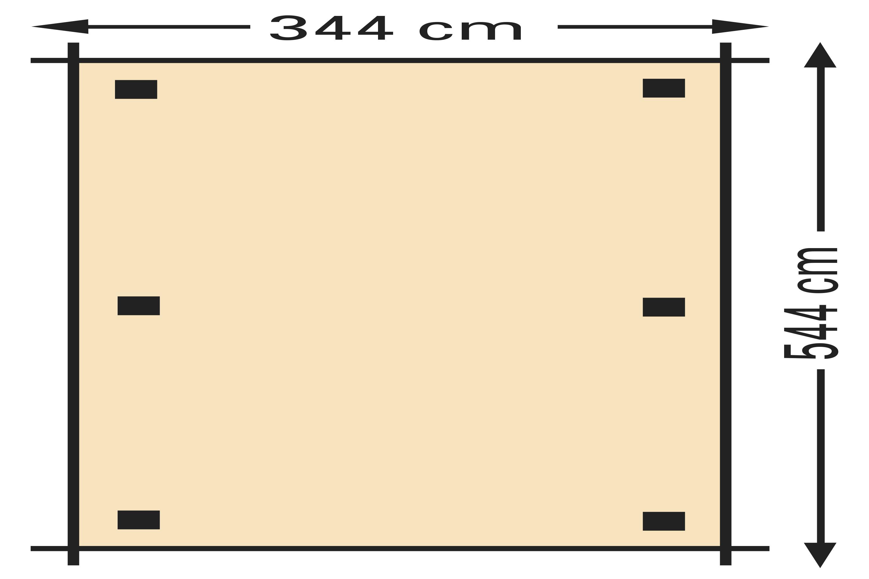 Schaduwpergola vuren houtpakket 344 x 544 cm